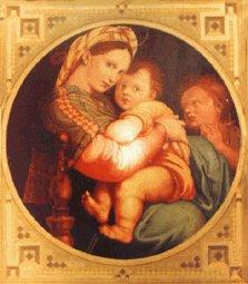 Raffaello - Madonna, Jesu an angel - reproduction - oil on canvas - 70x60 cm