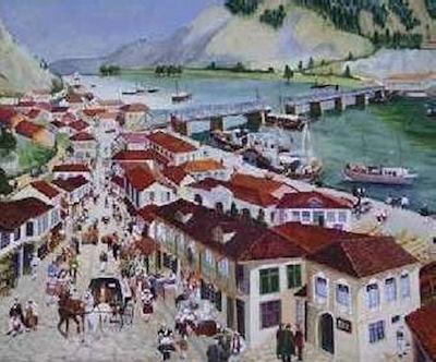Tregu i vjetër i Shkodrës në panel - pikturë